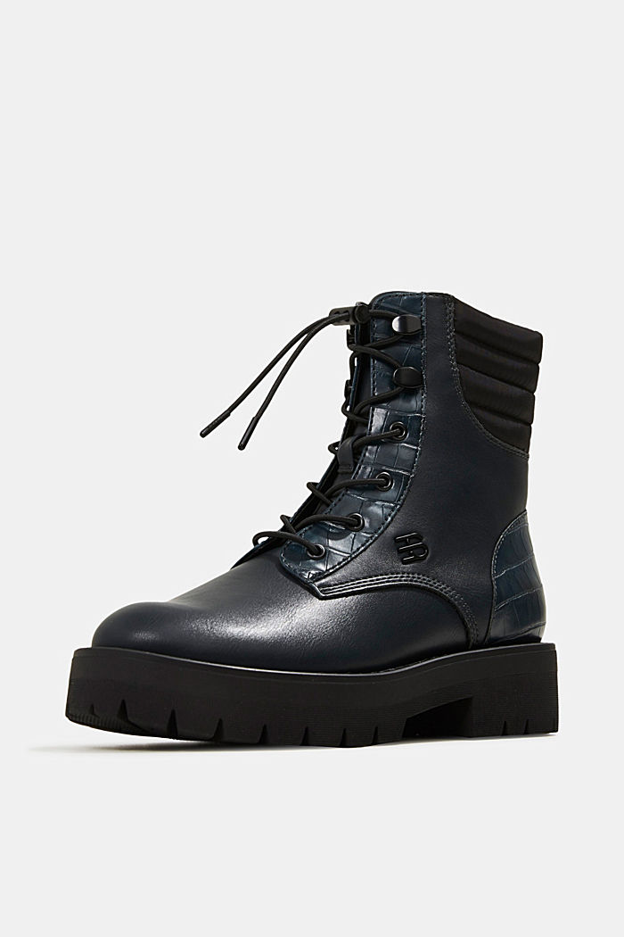 Lace-up boots with faux reptile leather, DARK TEAL GREEN, detail image number 2