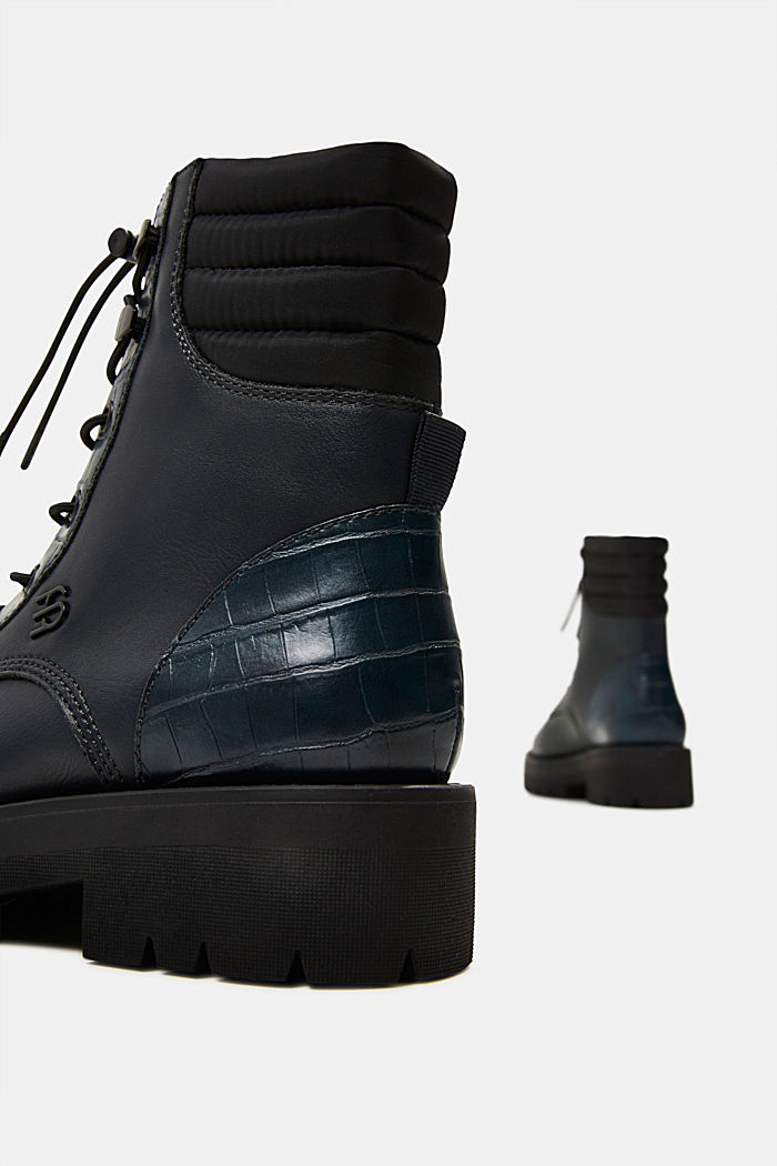 Lace-up boots with faux reptile leather, DARK TEAL GREEN, detail image number 5
