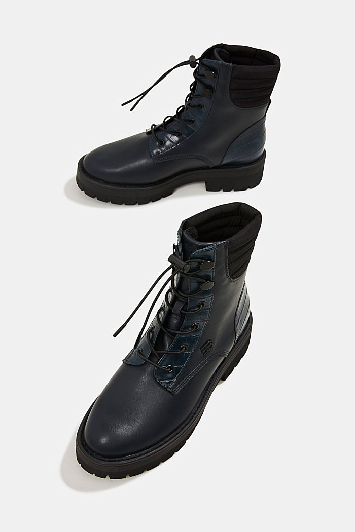 Lace-up boots with faux reptile leather, DARK TEAL GREEN, detail image number 6