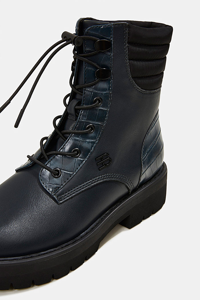 Lace-up boots with faux reptile leather, DARK TEAL GREEN, detail image number 4