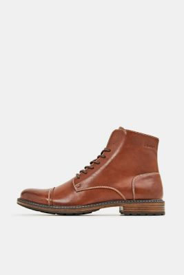 Faux leather lace-up boots, TOFFEE, detail