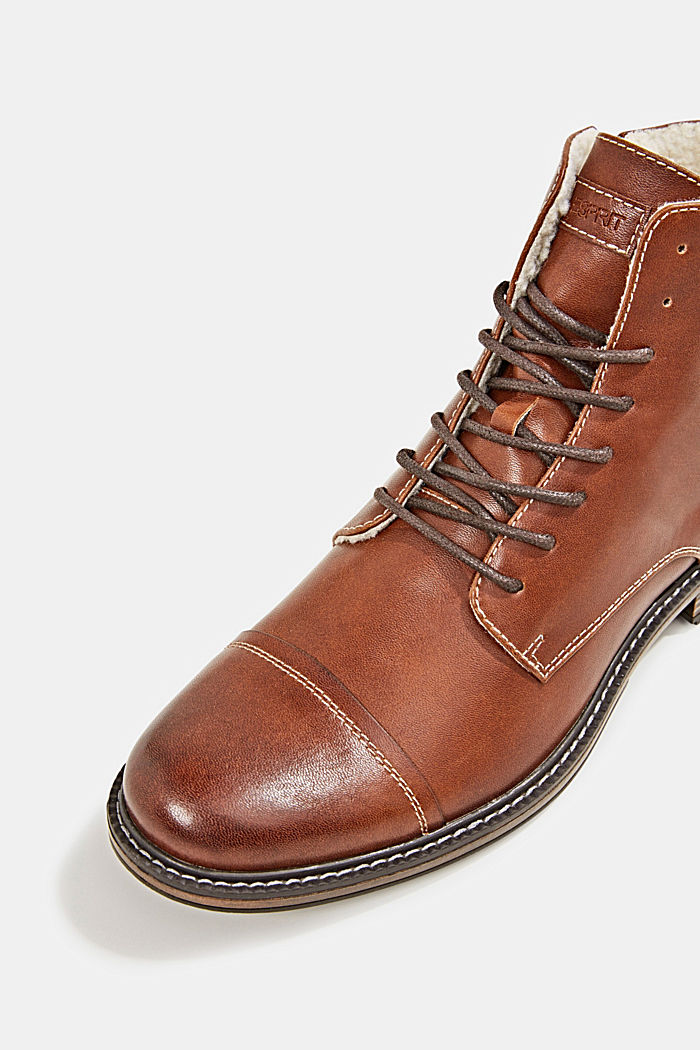 Faux leather lace-up boots, TOFFEE, detail image number 4