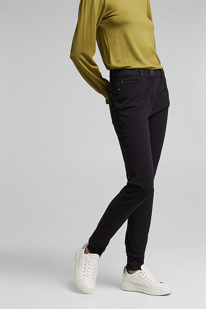 Two-way stretch trousers with organic cotton, BLACK, detail image number 0