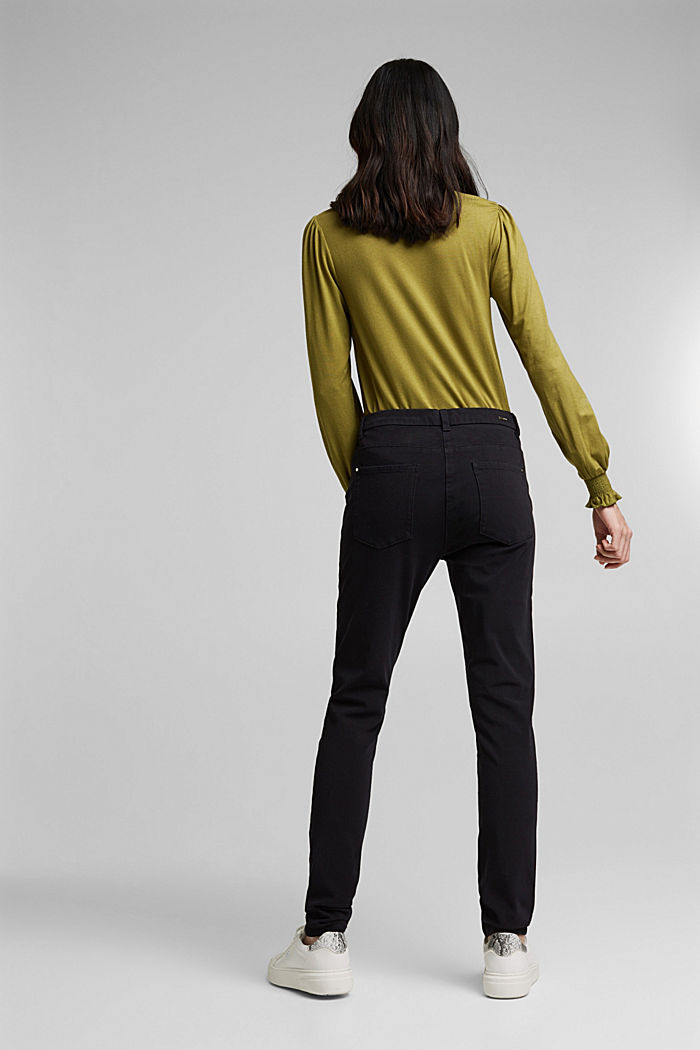 Two-way stretch trousers with organic cotton, BLACK, detail image number 3