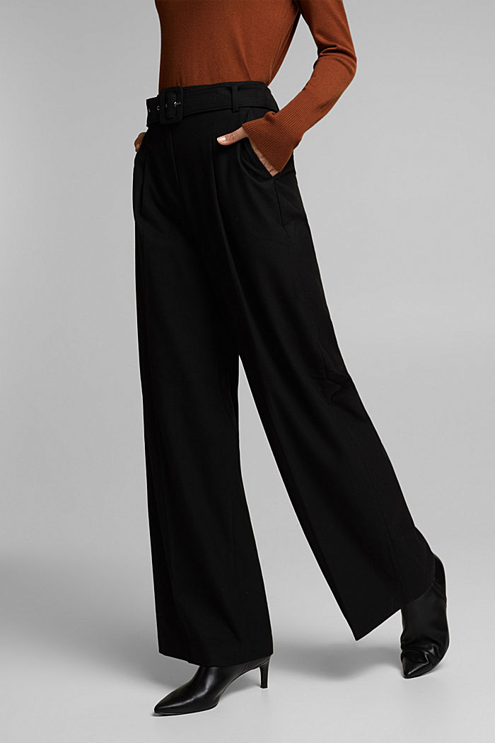 Recycled: wide trousers with belt, BLACK, detail image number 0