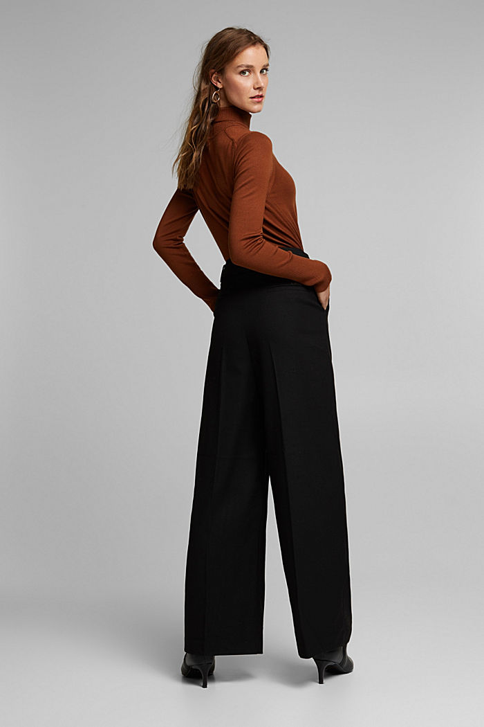 Recycled: wide trousers with belt, BLACK, detail image number 3
