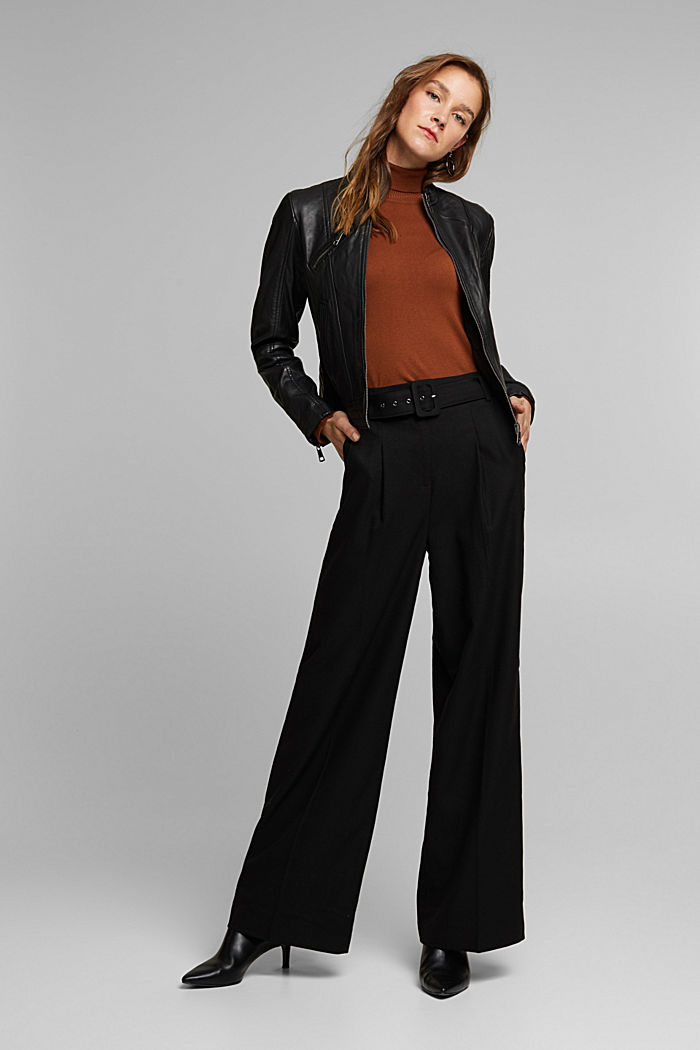Recycled: wide trousers with belt, BLACK, detail image number 1