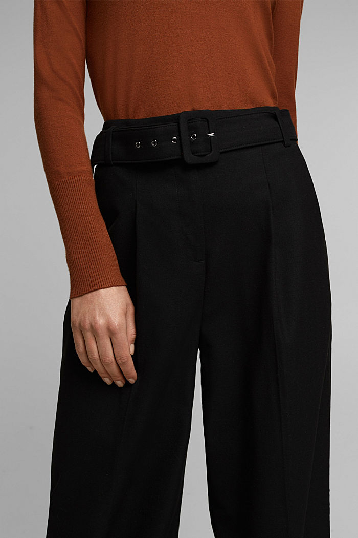 Recycled: wide trousers with belt, BLACK, detail image number 2