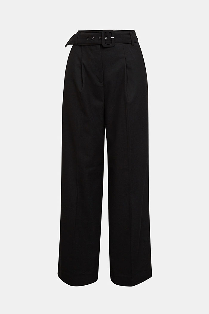 Recycled: wide trousers with belt, BLACK, detail image number 6
