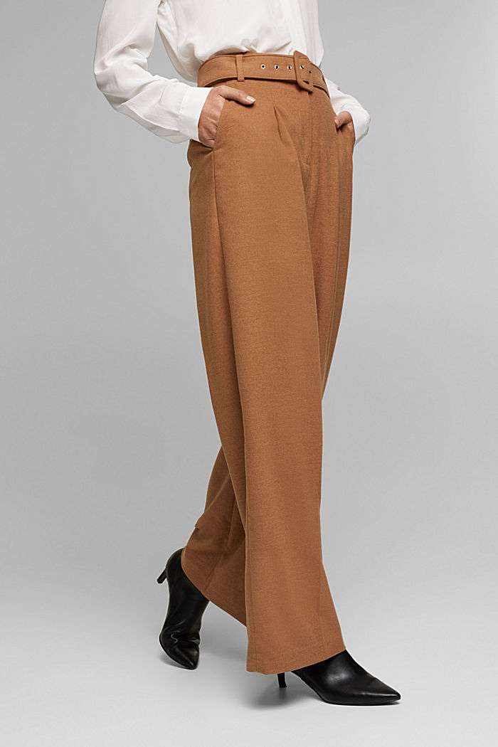 Recycled: wide trousers with belt, CAMEL, overview