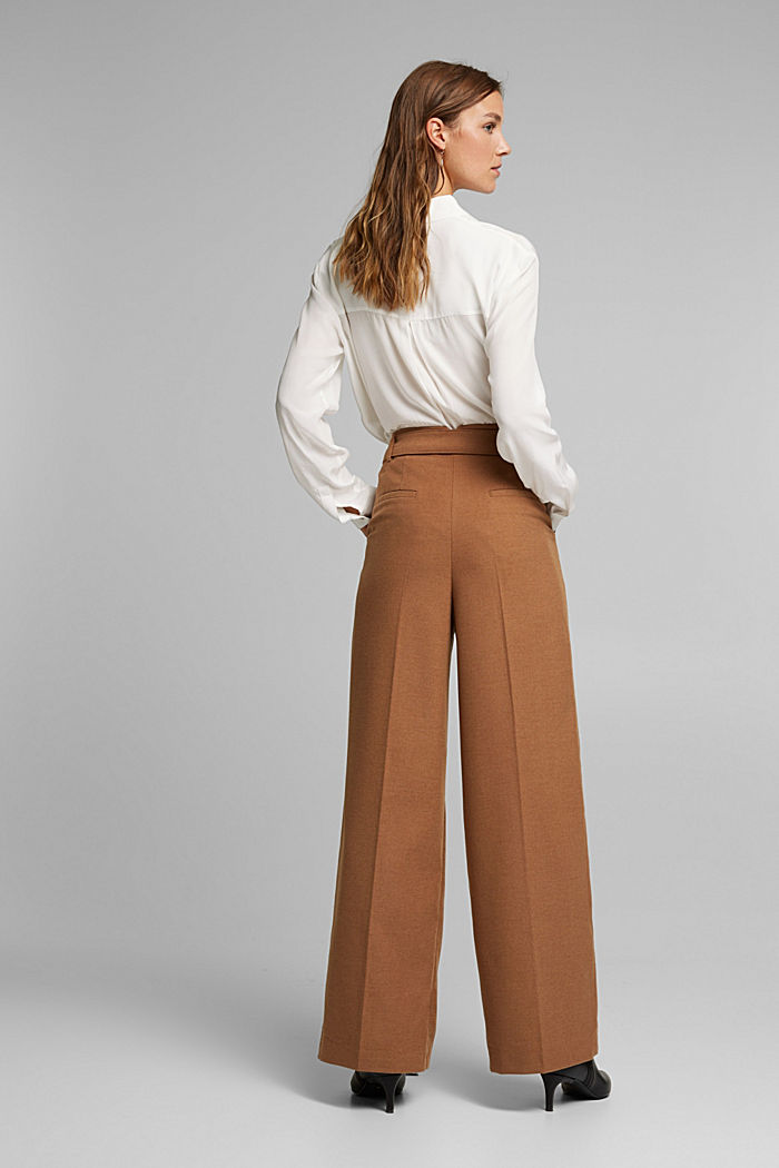 Recycled: wide trousers with belt, CAMEL, detail image number 3