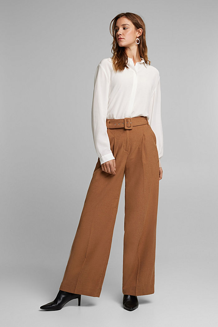 Recycled: wide trousers with belt, CAMEL, detail image number 1