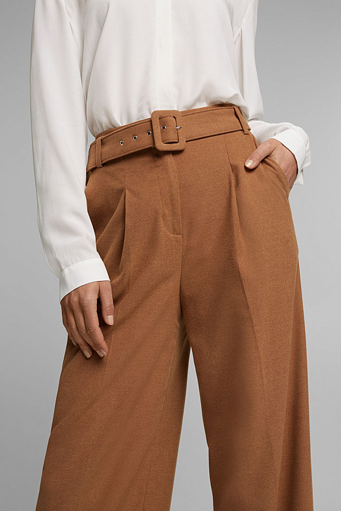 Recycled: wide trousers with belt, CAMEL, detail image number 2