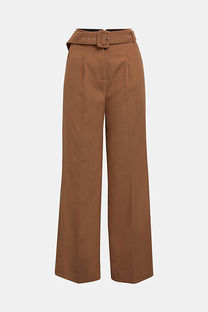 Recycled: wide trousers with belt, CAMEL, detail image number 6