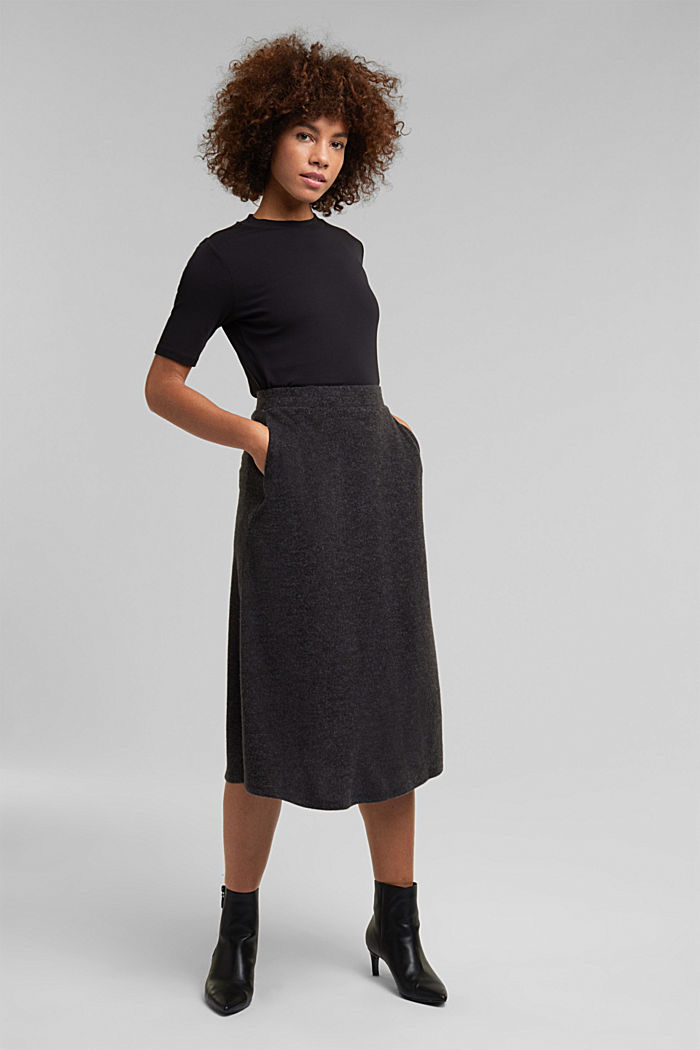 Midi skirt made of brushed jersey