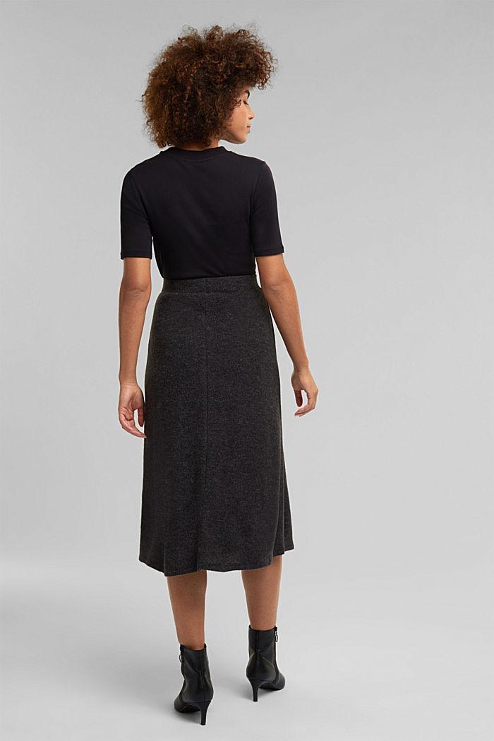 Midi skirt made of brushed jersey, GUNMETAL, detail image number 3