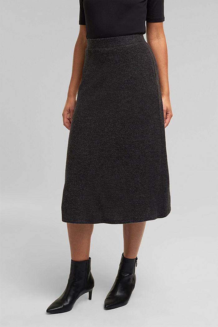 Midi skirt made of brushed jersey, GUNMETAL, detail image number 5