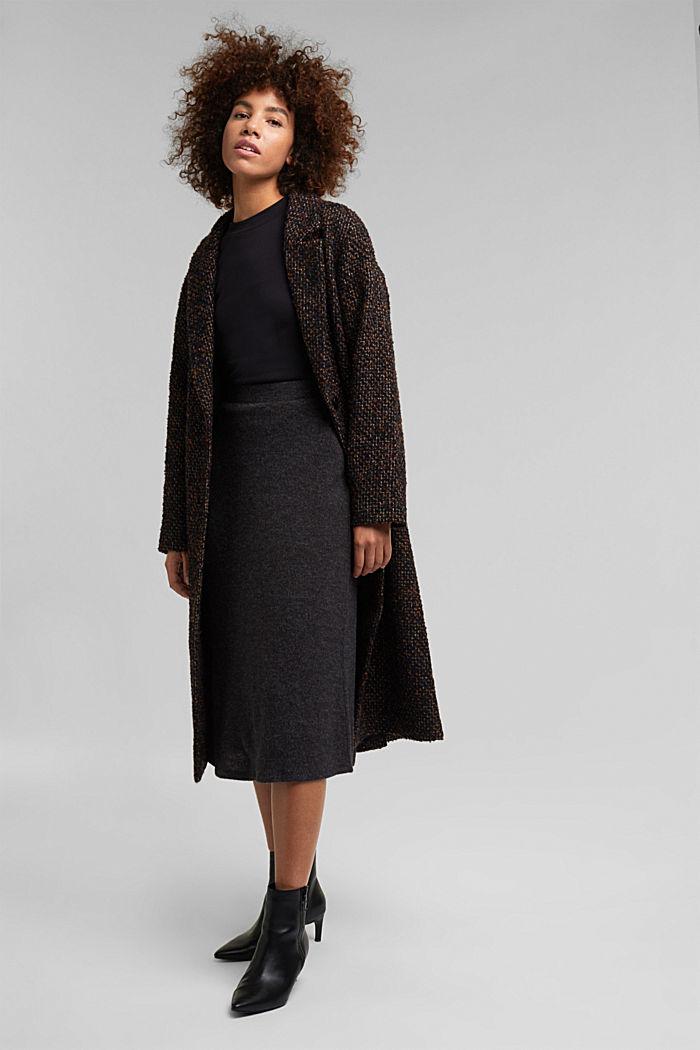 Midi skirt made of brushed jersey, GUNMETAL, detail image number 1