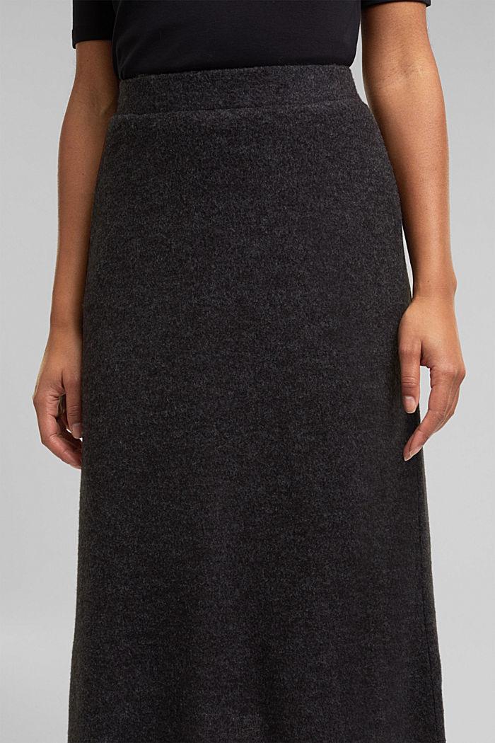 Midi skirt made of brushed jersey, GUNMETAL, detail image number 2