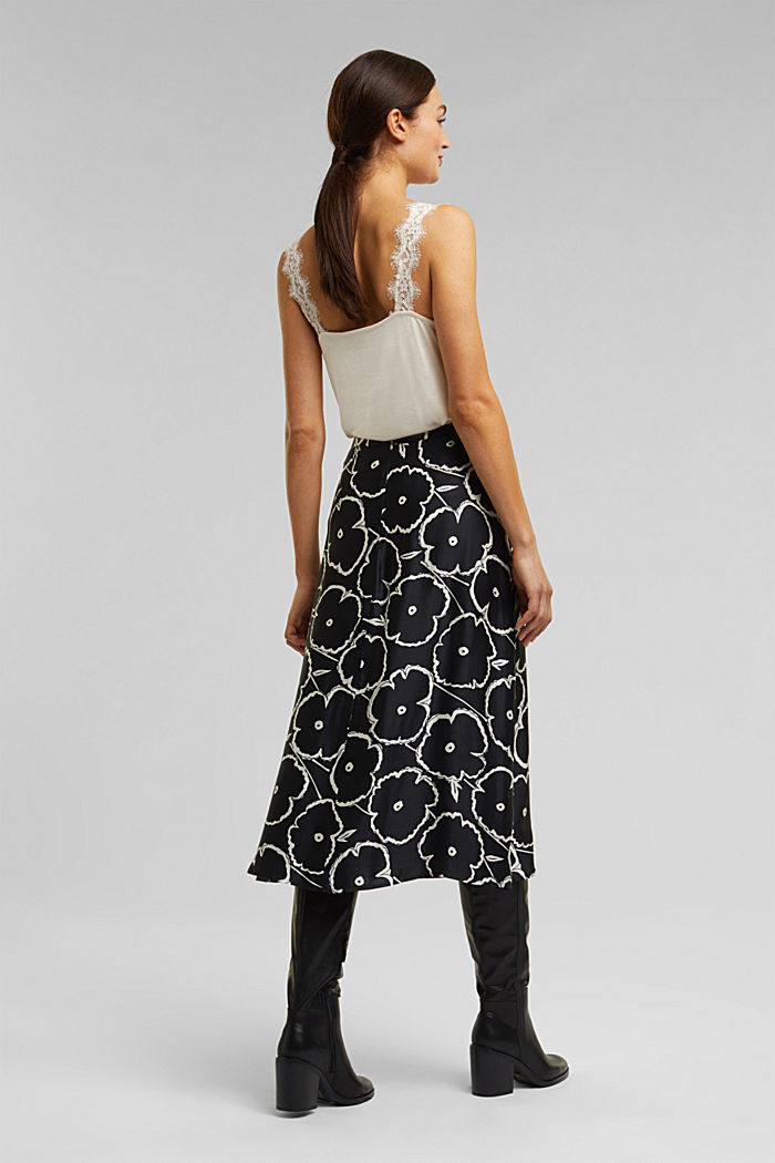 Printed skirt made of satin, BLACK, detail image number 2