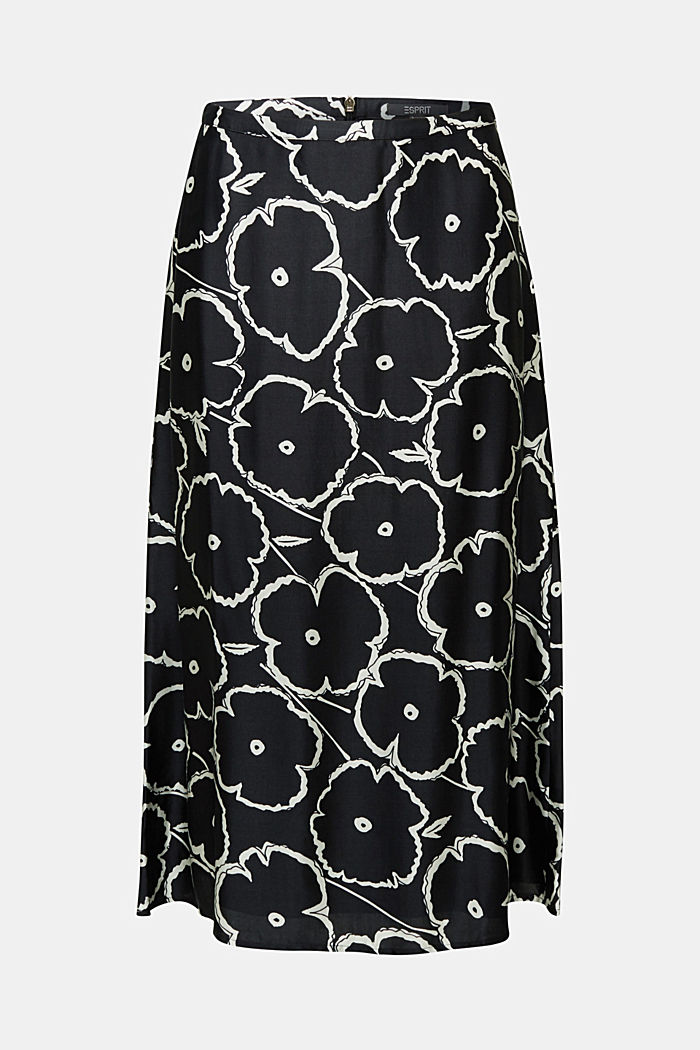 Printed skirt made of satin, BLACK, detail image number 5