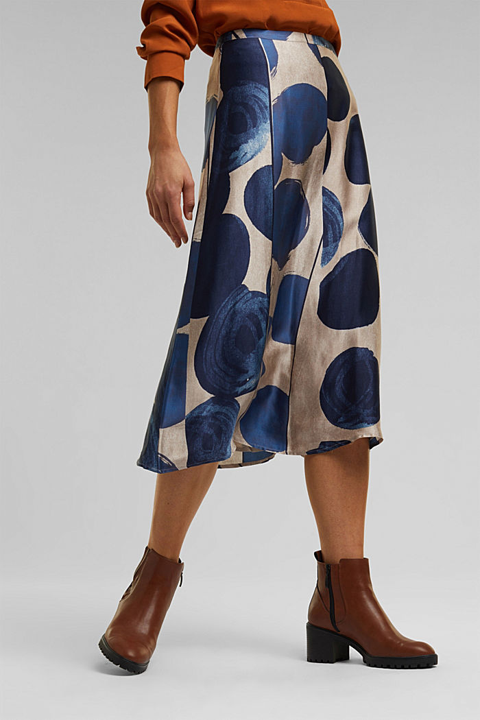 Printed skirt made of satin, BRIGHT BLUE, detail image number 0