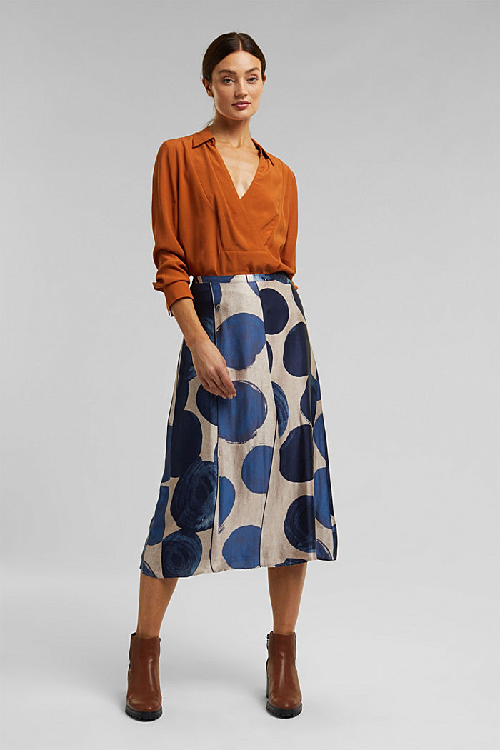 Printed skirt made of satin, BRIGHT BLUE, detail image number 1