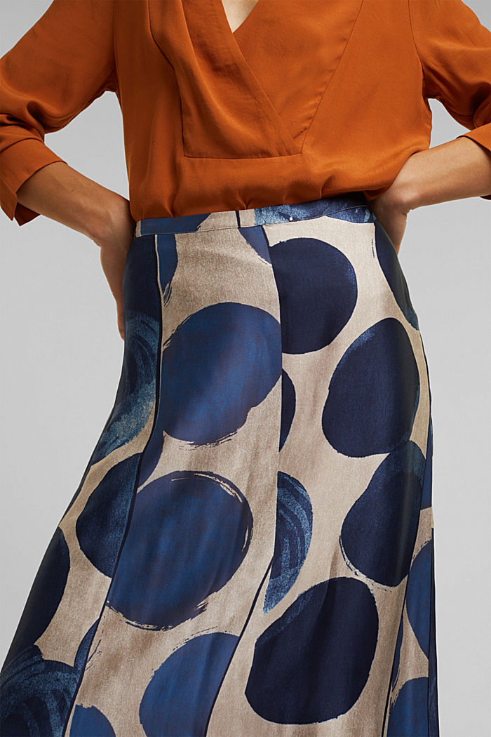 Printed skirt made of satin, BRIGHT BLUE, detail image number 2