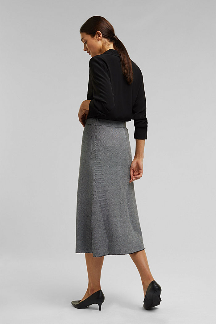 Knitted midi skirt dress with LENZING™ ECOVERO™, BLACK, detail image number 3