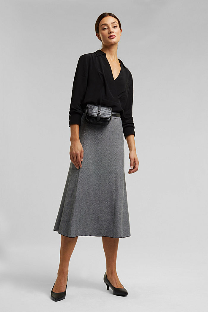 Knitted midi skirt dress with LENZING™ ECOVERO™, BLACK, detail image number 1