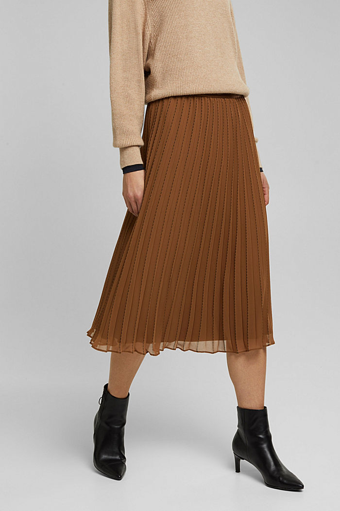 Recycled: pleated skirt with a seam print, TOFFEE, detail image number 0