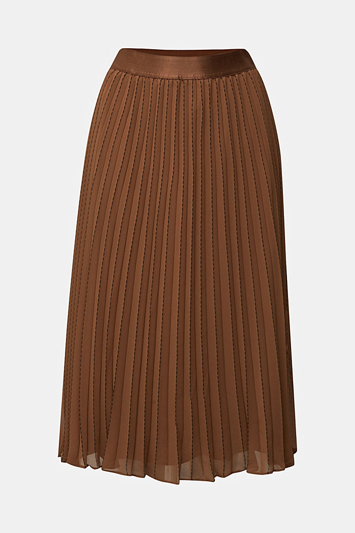 Recycled: pleated skirt with a seam print, TOFFEE, overview