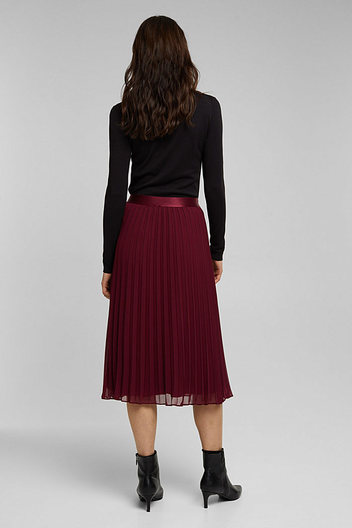 Recycled: pleated skirt with a seam print, BORDEAUX RED, detail image number 3