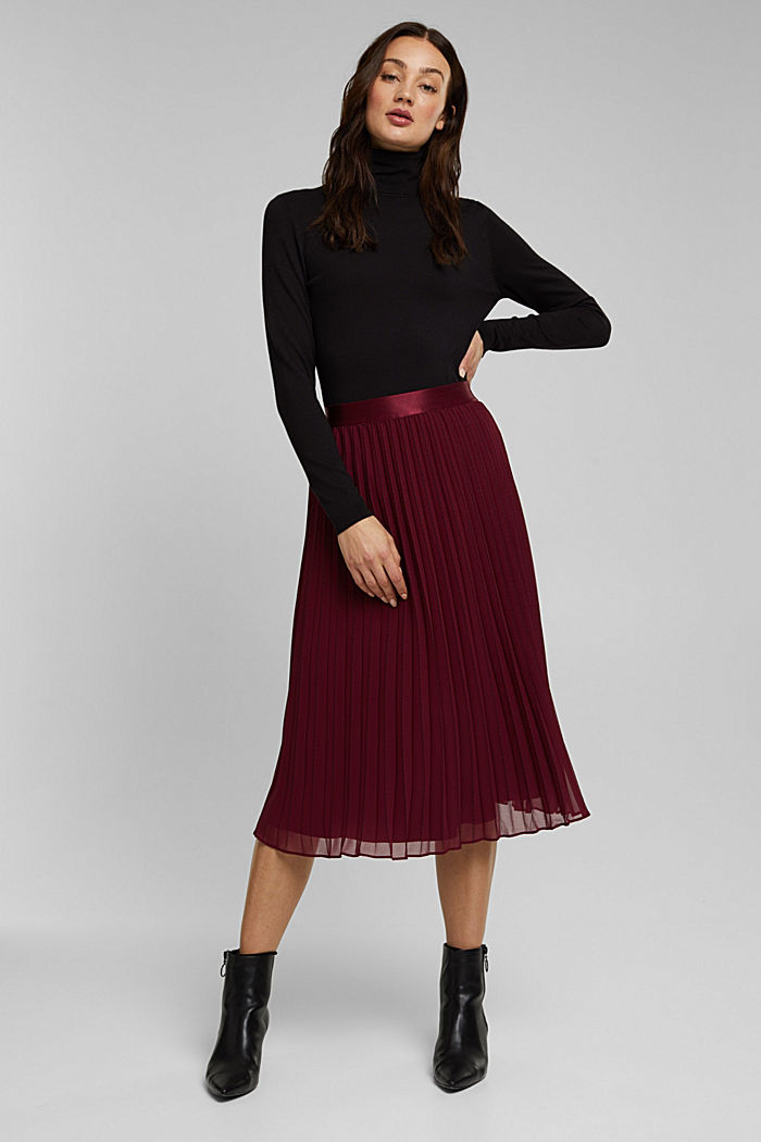 Recycled: pleated skirt with a seam print, BORDEAUX RED, detail image number 5