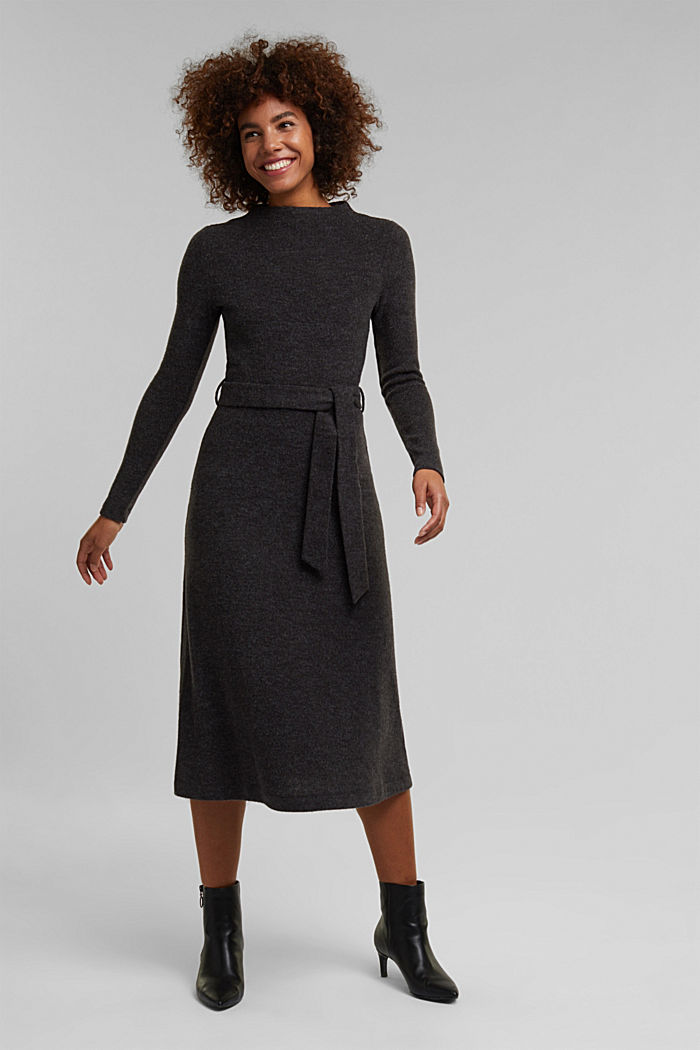 Midi-length belted knit dress, GUNMETAL, detail image number 0