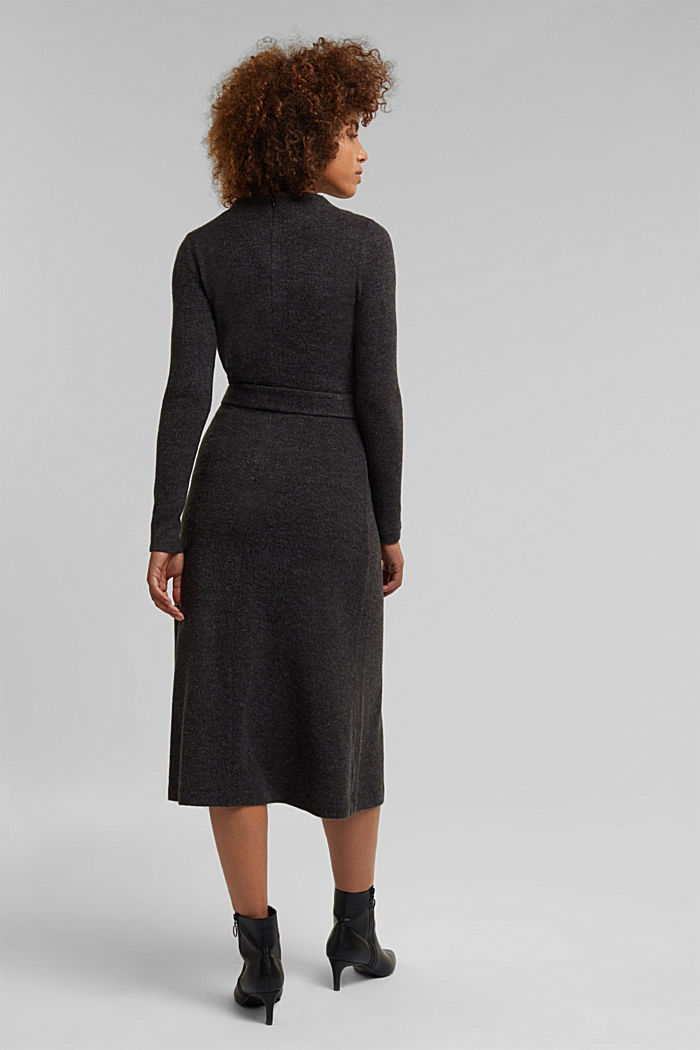 Midi-length belted knit dress, GUNMETAL, detail image number 2