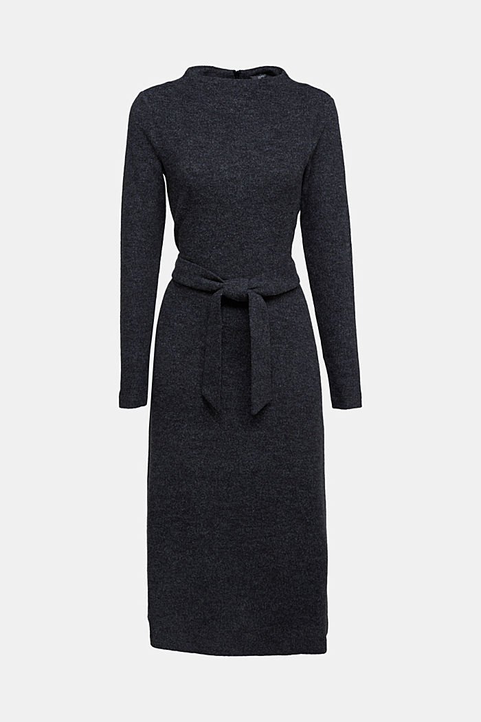 Midi-length belted knit dress, GUNMETAL, detail image number 7