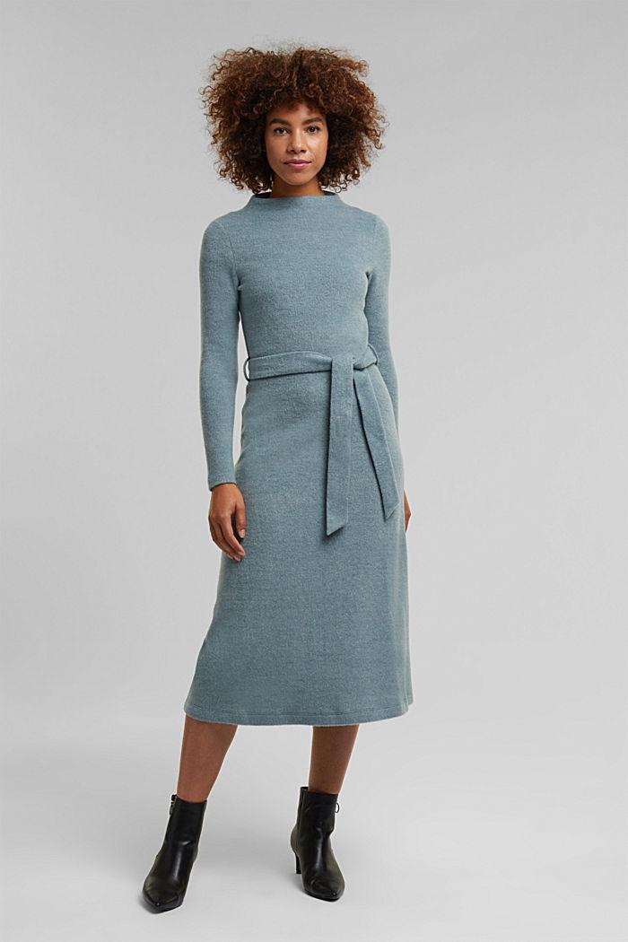 Midi-length belted knit dress, GREY BLUE, detail image number 0