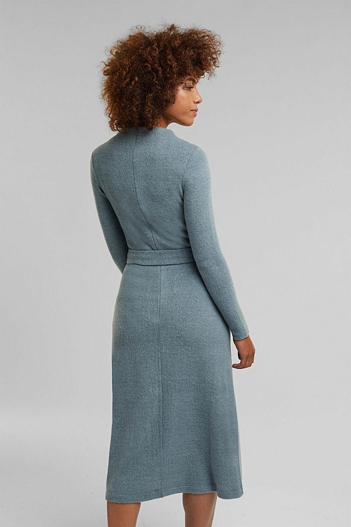 Midi-length belted knit dress, GREY BLUE, detail image number 2