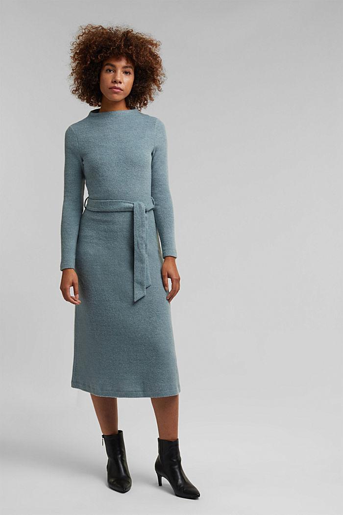 Midi-length belted knit dress, GREY BLUE, detail image number 1