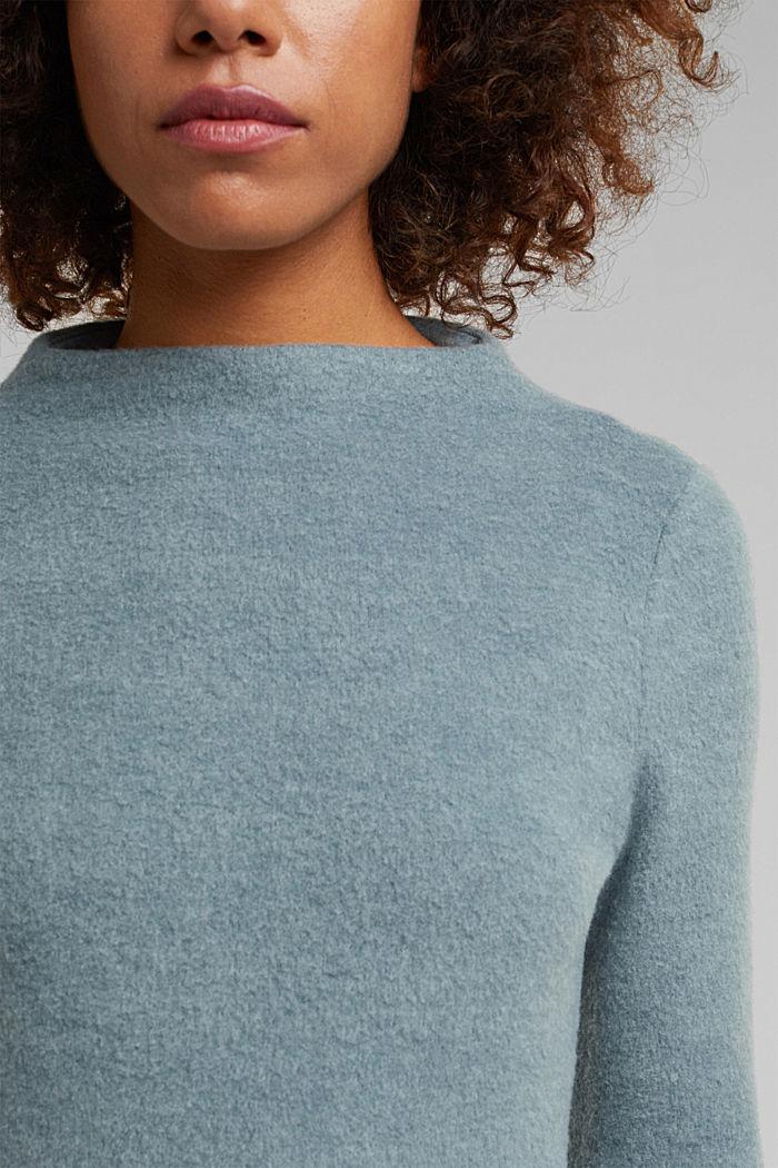 Midi-length belted knit dress, GREY BLUE, detail image number 3