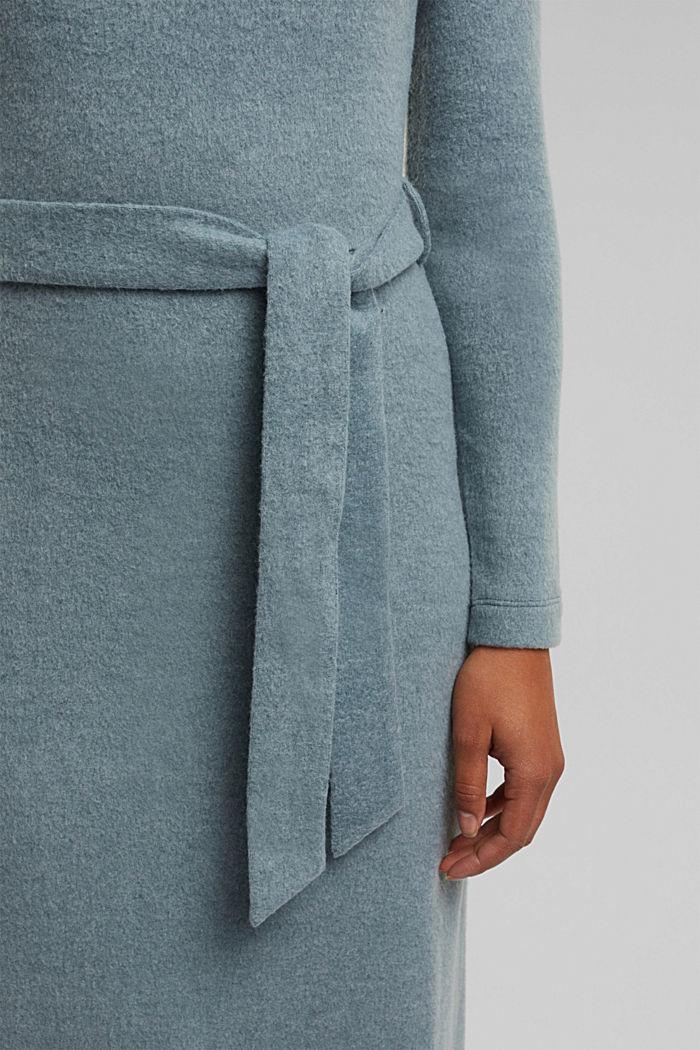 Midi-length belted knit dress, GREY BLUE, detail image number 5