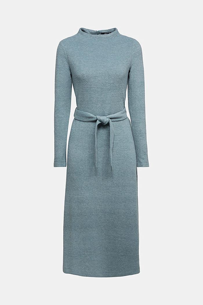 Midi-length belted knit dress, GREY BLUE, detail image number 6