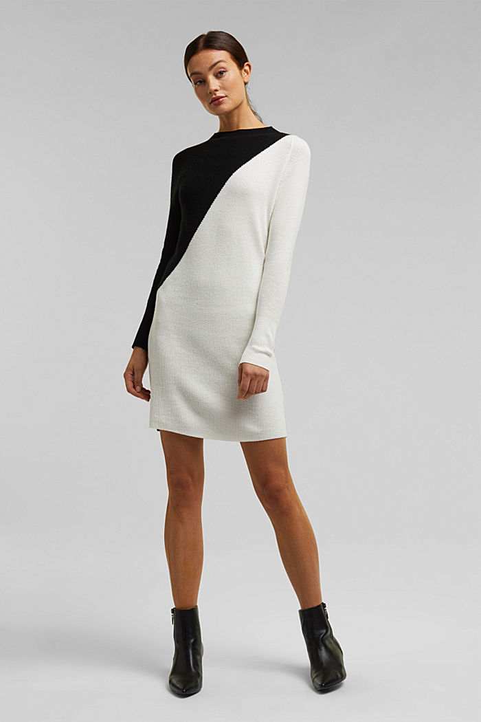 Cashmere blend: fine knit dress, BLACK, detail image number 0