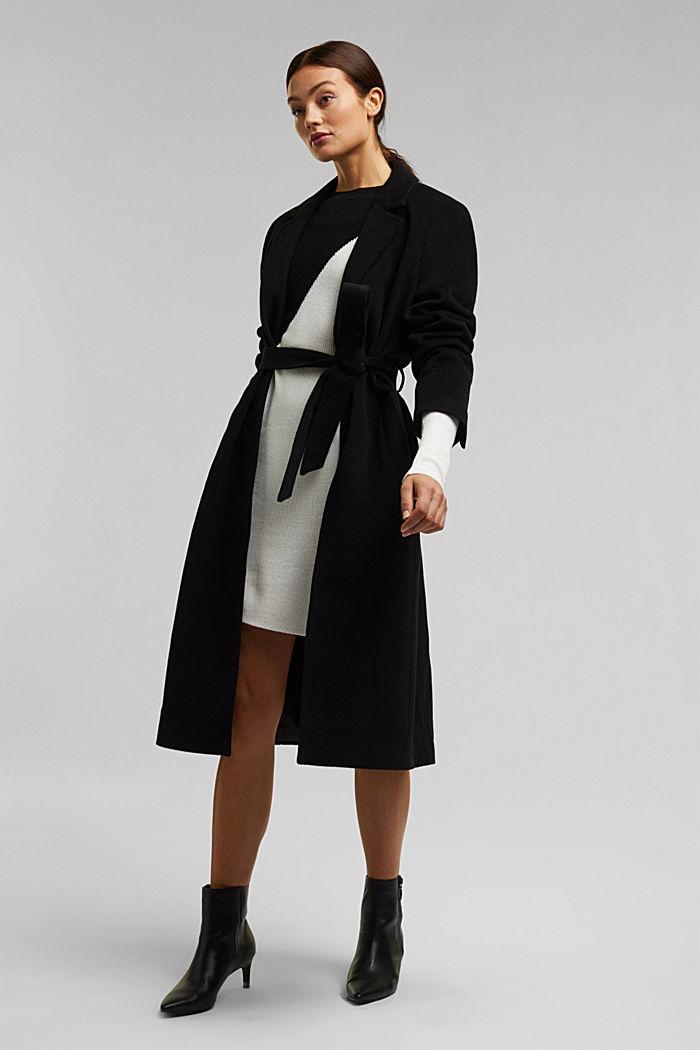 Cashmere blend: fine knit dress, BLACK, detail image number 1