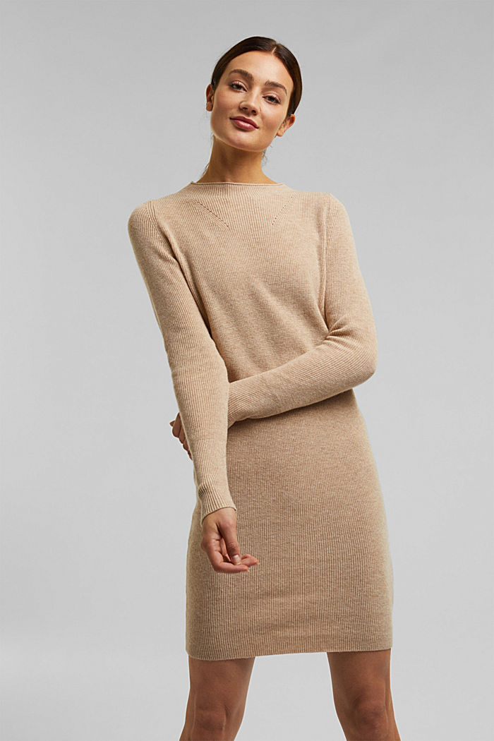 Cashmere blend: fine knit dress, BEIGE, detail image number 0