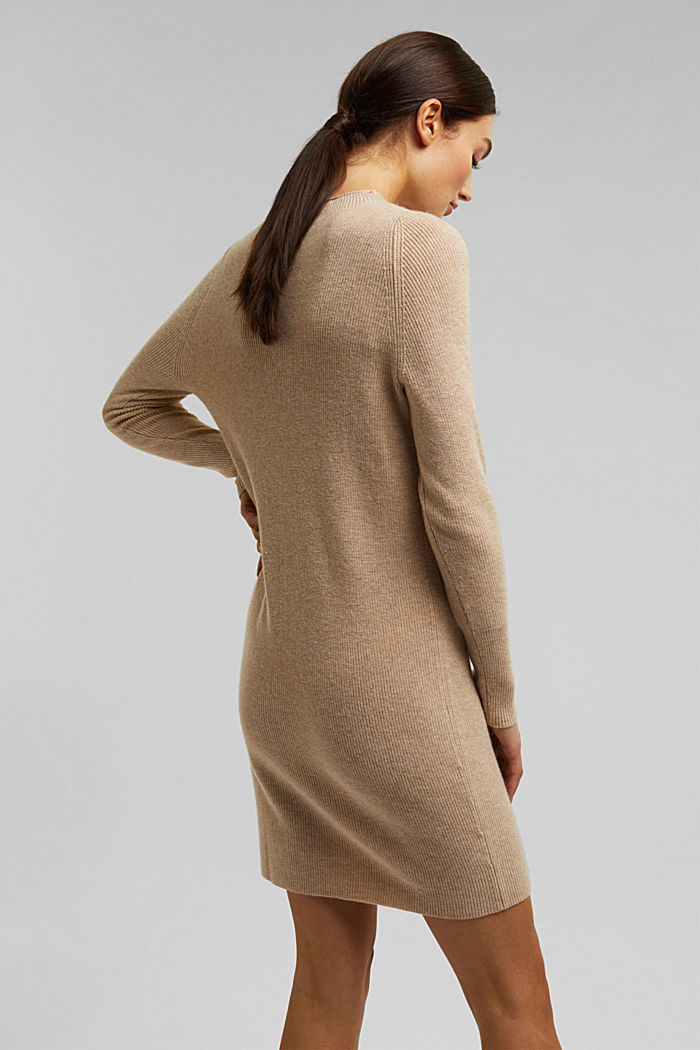 Cashmere blend: fine knit dress, BEIGE, detail image number 2