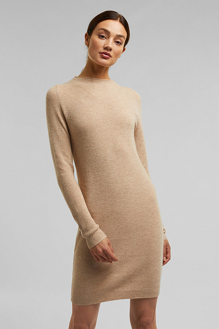 Cashmere blend: fine knit dress, BEIGE, detail image number 5