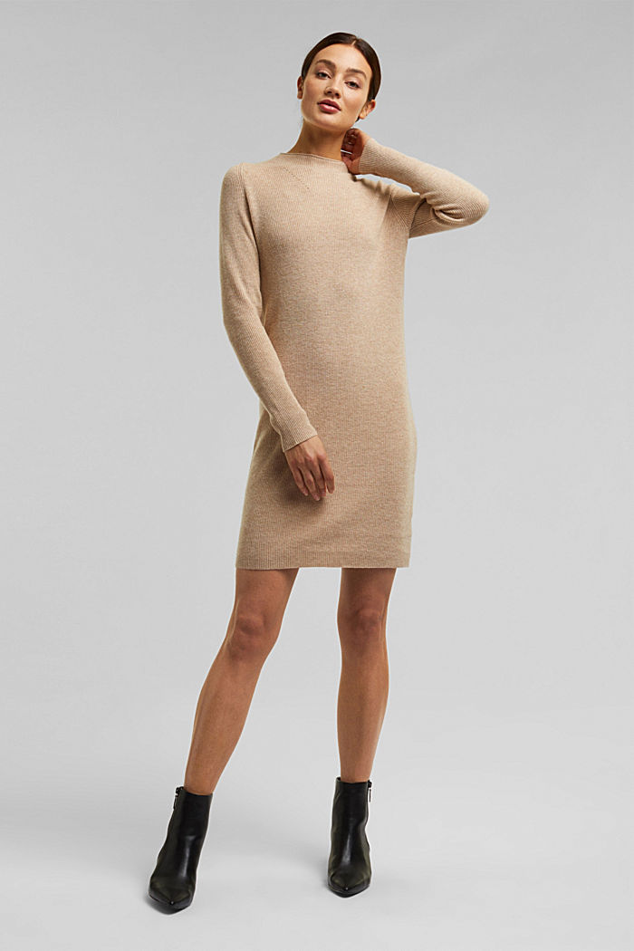 Cashmere blend: fine knit dress, BEIGE, detail image number 1
