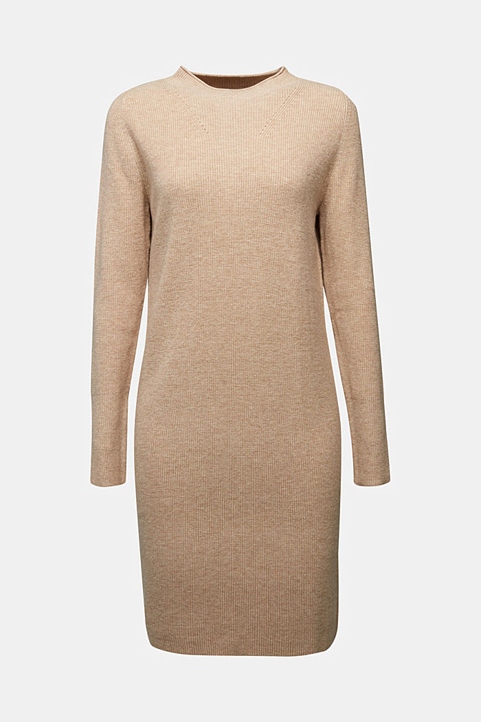 Cashmere blend: fine knit dress, BEIGE, detail image number 6